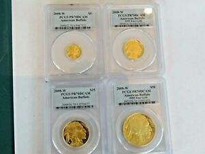 Click now to see the BUY IT NOW Price! 2008 W  SET .9999 PROOF AMERICAN BUFFALO GOLD COINS PCGS PR70DCAM 4 GOLD COINS