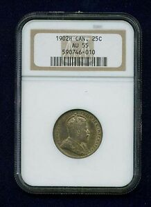 CANADA EDWARD VII 1902 H  25 CENTS COIN ALMOST UNCIRCULATED CERTIFIED NGC AU55