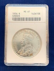 CANADA  GEORGE V  1936 1 DOLLAR SILVER COIN UNCIRCULATED ANACS CERTIFIED MS61