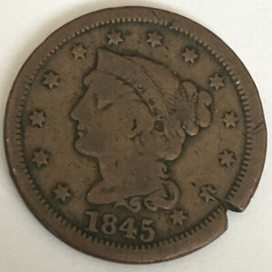 1845 LARGE CENT CIRCULATED CCC959