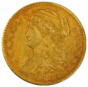 1811 $5 GOLD CAPPED BUST SMALL 5 PCGS AU50