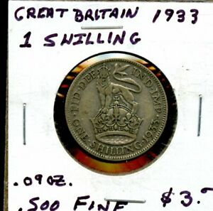 1933 GREAT BRITAIN 1 SHILLING SILVER COIN FV283