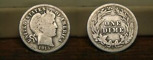 1913 S BARBER LIBERTY HEAD SILVER DIME 1913S US COIN