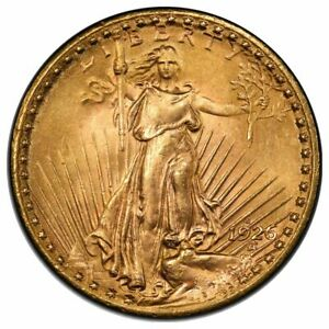 1926 S $20 GOLD ST GAUDENS MOTTO PCGS MS64