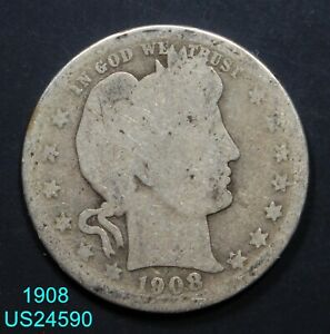 1908 BARBER QUARTER CIRCULATED 90  SILVER COIN  IN UNITED STATES