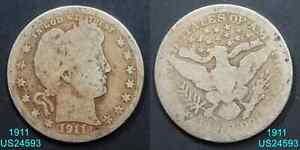 1911 BARBER QUARTER CIRCULATED 90  SILVER  IN UNITED STATES