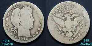 1915 BARBER QUARTER CIRCULATED 90  SILVER COIN  IN UNITED STATES