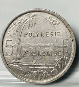 1965 FRENCH POLYNESIA 5 FRANCS   BEAUTIFUL COIN   SEE PICS