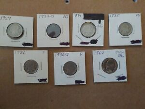 BUFFLALO NICKEL LOT OF 7 1929 1934D 1934 1935 1936 1936S 1962