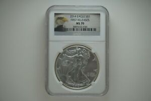 2014 SILVER EAGLE $1 FIRST RELEASES MS70 NGC