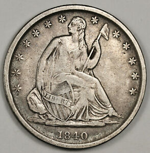 1840 O SEATED LIBERTY HALF.  ERROR  WB 11. DIE CRACKS OBVERSE.  ABOUT XF  151930