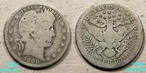 1908 D BARBER QUARTER CIRCULATED 90  SILVER DENVER MINT  IN U. S.