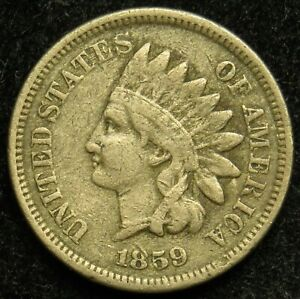 1859 INDIAN HEAD CENT PENNY F FINE  B01