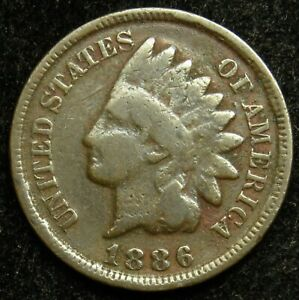 1886 TYPE 2 INDIAN HEAD CENT PENNY G GOOD  B02