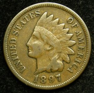 1897 INDIAN HEAD CENT PENNY F FINE  B04