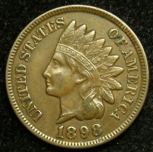 1898 INDIAN HEAD CENT PENNY VF FINE  B01