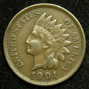 1901 INDIAN HEAD CENT PENNY VF FINE  B01