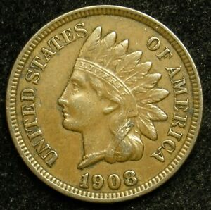 1908 INDIAN HEAD CENT PENNY VF FINE  B02