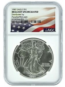 1987 SILVER EAGLE NGC BRILLIANT UNCIRCULATED   FLAG LABEL
