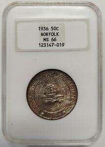 1936 SILVER NORFOLK COMMEMORATIVE HALF DOLLAR NGC MS66 RICH TONING    7019
