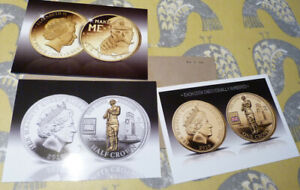 3 PUBLICITY CARDS FOR GOLD & SILVER COINS   VARIOUS DATES  20.2.22