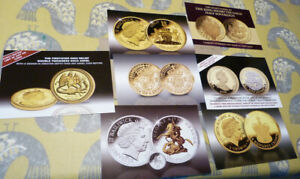 7 PUBLICITY CARDS FOR GOLD AND SILVER COINS   VARIOUS DATES  20.2.20
