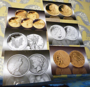 6 PUBLICITY CARDS FOR GOLD AND SILVER COINS   VARIOUS DATES  20.2.19