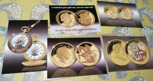 5 PUBLICITY CARDS FOR GOLD COINS   VARIOUS DATES  20.2.21