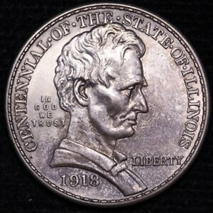 1918 STATE OF ILLINOIS HALF DOLLAR CHOICE UNC  E340 KLM