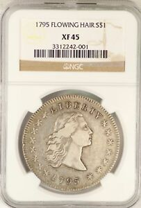 1795 FLOWING HAIR SILVER DOLLAR NGC XF45 CERTIFIED $1 COIN   UNITED STATES JY654