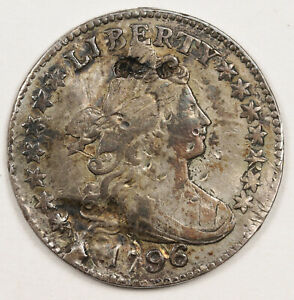 1796 BUST DIME  STRIKE OVERS INDENTATIONS APPEAR OBV. & REV.  XF DETAIL.  152478