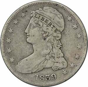 1839 BUST HALF DOLLAR REEDED EDGE CAPPED LARGE LETTERS F UNCERTIFIED