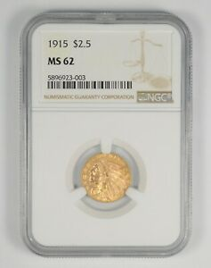 MS62 1915 $2.50 INDIAN HEAD GOLD QUARTER EAGLE   GRADED NGC  9808
