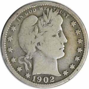 1902 BARBER SILVER QUARTER CHOICE VG UNCERTIFIED