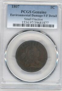 1807 DRAPED BUST LARGE CENT PCGS VF DETAIL SMALL FRACTIONS