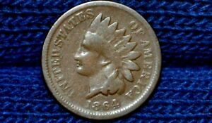 1864 L INDIAN HEAD CENT    GOOD     CHOICE BROWN   REVERSE ROTATED 30 DEGREES