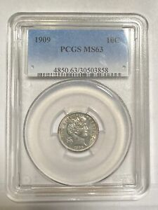DIMES BARBER OR LIBERTY HEAD 1909 P PCGS MS 63