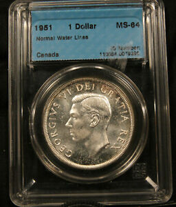 Click now to see the BUY IT NOW Price! 1951 CANADA SILVER DOLLAR MS64 CCCS CERTIFIED. BRILLIANT LUSTRE NEAR GEM UNC.