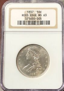 HALF DOLLARS CAPPED BUST REEDED EDGE 1837 P NGC MS 63