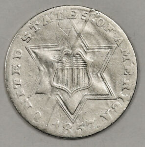 1857 3 CENT SILVER.  CIRCULATED.  152653