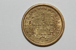 1849 P GRADES AU $1 US PRE 1933 GOLD ONE DOLLAR COIN   OPEN WREATH  GOLD745