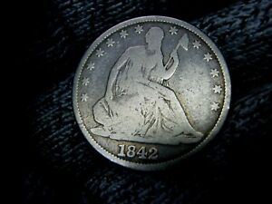 1842 LIBERTY SEATED SILVER HALF DOLLAR UNITED STATE COIN