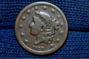 1839 LARGE CENT    SILLY HEAD    CHOICE BROWN    VF