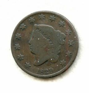 1829   CORONET HEAD   LARGE CENT   CH G