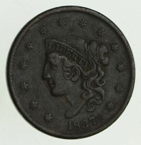 1837 YOUNG HEAD LARGE CENT   CIRCULATED  9513