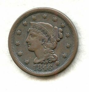 1846 TALL DATE   BRAIDED HAIR   LARGE CENT   VF