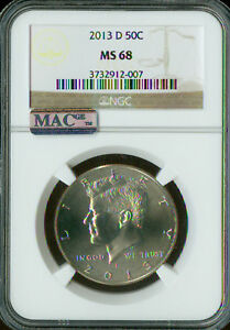 Click now to see the BUY IT NOW Price! 2013 D KENNEDY HALF DOLLAR NGC MAC MS68 PQ 2ND FINEST SPOTLESS
