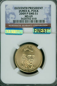Click now to see the BUY IT NOW Price! 2009 P JAMES POLK PRES. DOLLAR NGC MS69 PQ SMS MAC FINEST POP 15  SPOTLESS