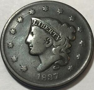 USA   1837 CORONET HEAD LARGE CENT PENNY     NICE TYPE COIN