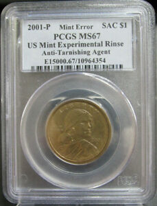 Click now to see the BUY IT NOW Price! MINT ERROR 2001 P SACAGAWEA $1 EXPERIMENTAL RINSE AUTI TARNISH AGENT PCGS MS67